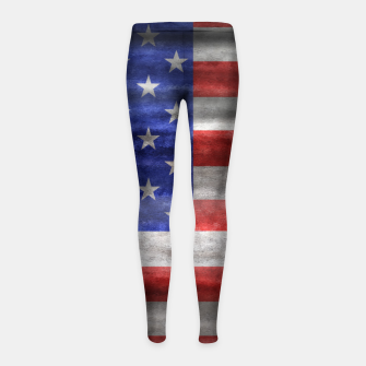Thumbnail image of American Grunge Flag Girl's Leggings, Live Heroes