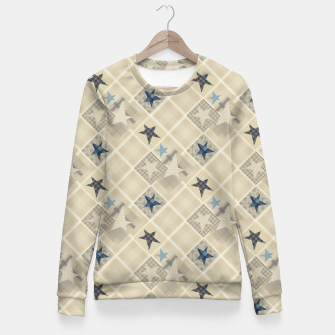 Abstract beige stars print Fitted Waist Sweater obraz miniatury