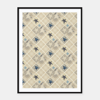 Abstract beige stars print Framed poster obraz miniatury