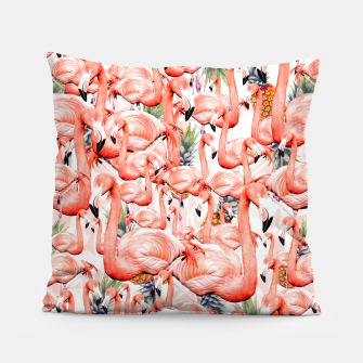 Miniatur Exotic landscape of flamingos and pineapple Almohada, Live Heroes