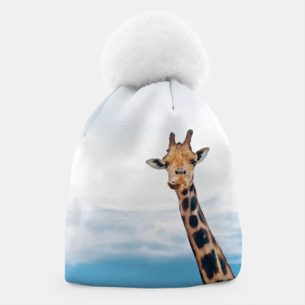 Thumbnail image of Giraffe neck and head against the clear blue sky Beanie, Live Heroes