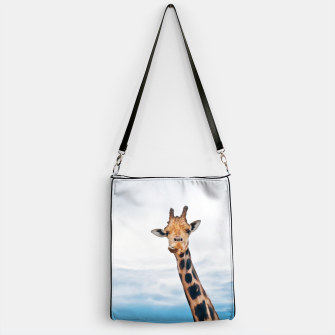 Thumbnail image of Giraffe neck and head against the clear blue sky Handbag, Live Heroes