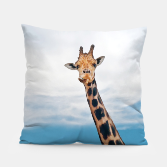 Thumbnail image of Giraffe neck and head against the clear blue sky Pillow, Live Heroes