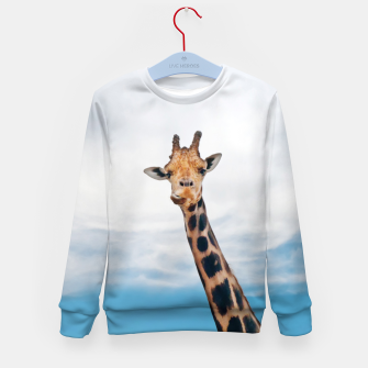 Thumbnail image of Giraffe neck and head against the clear blue sky Kid's Sweater, Live Heroes