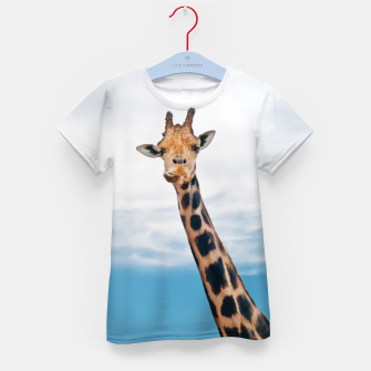 Thumbnail image of Giraffe neck and head against the clear blue sky Kid's T-shirt, Live Heroes