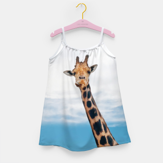 Thumbnail image of Giraffe neck and head against the clear blue sky Girl's Dress, Live Heroes
