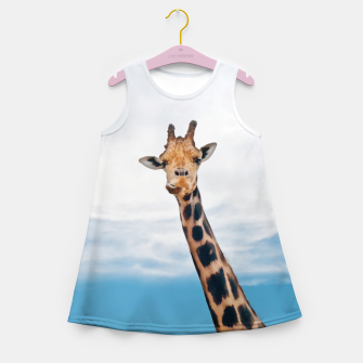 Thumbnail image of Giraffe neck and head against the clear blue sky Girl's Summer Dress, Live Heroes
