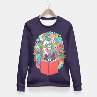 Thumbnail image of Reading cat Fitted Waist Sweater, Live Heroes