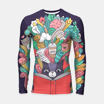 Thumbnail image of Reading cat Longsleeve Rashguard , Live Heroes