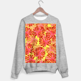 Thumbnail image of Red tropical leaves Sweater regular, Live Heroes