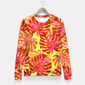 Thumbnail image of Red tropical leaves Fitted Waist Sweater, Live Heroes