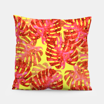 Thumbnail image of Red tropical leaves Pillow, Live Heroes