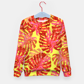 Thumbnail image of Red tropical leaves Kid's Sweater, Live Heroes