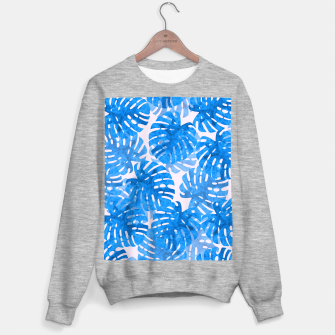Thumbnail image of Blue tropical leaves Sweater regular, Live Heroes