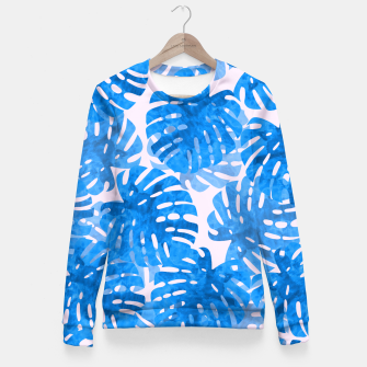 Thumbnail image of Blue tropical leaves Fitted Waist Sweater, Live Heroes