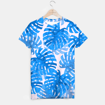 Thumbnail image of Blue tropical leaves T-shirt, Live Heroes