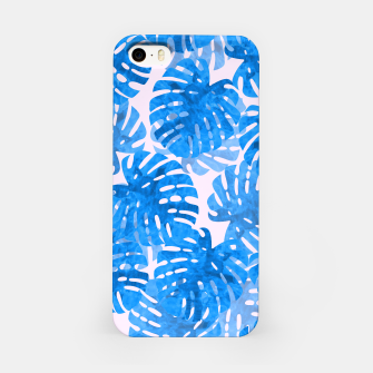 Thumbnail image of Blue tropical leaves iPhone Case, Live Heroes