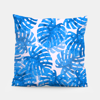 Thumbnail image of Blue tropical leaves Pillow, Live Heroes