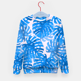 Thumbnail image of Blue tropical leaves Kid's Sweater, Live Heroes