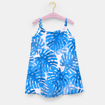 Thumbnail image of Blue tropical leaves Girl's Dress, Live Heroes