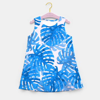 Thumbnail image of Blue tropical leaves Girl's Summer Dress, Live Heroes