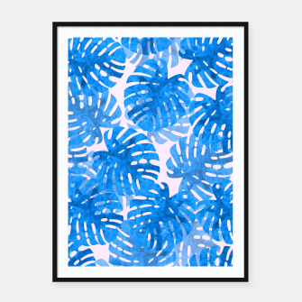 Thumbnail image of Blue tropical leaves Framed poster, Live Heroes