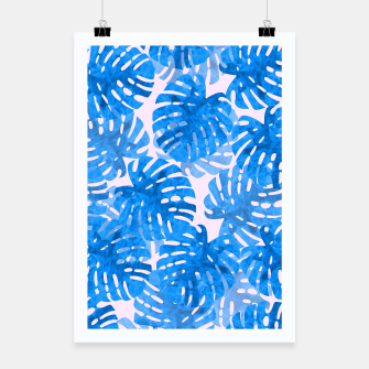 Thumbnail image of Blue tropical leaves Poster, Live Heroes