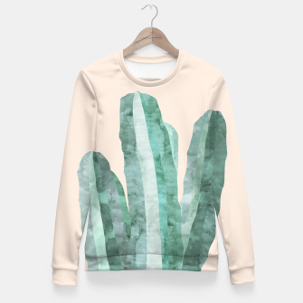Thumbnail image of Watercolor of cacti Fitted Waist Sweater, Live Heroes