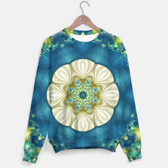 Thumbnail image of Poseidon's Rest Mandala in Turquoise and Ivory Sweater, Live Heroes