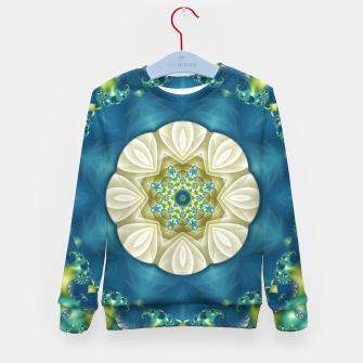 Thumbnail image of Poseidon's Rest Mandala in Turquoise and Ivory Kid's Sweater, Live Heroes