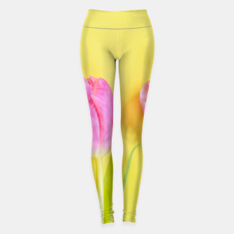 Thumbnail image of Three pink tulips on yellow Leggings, Live Heroes