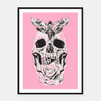 Miniatur Skull butterfly and pink Framed poster, Live Heroes