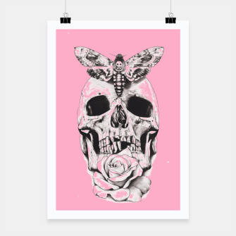Miniatur Skull butterfly and pink Poster, Live Heroes