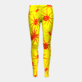 Thumbnail image of Yellow spider Girl's Leggings, Live Heroes