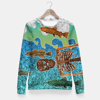 Miniaturka Vacations of a Skeleton whit his friends...the fish Fitted Waist Sweater, Live Heroes