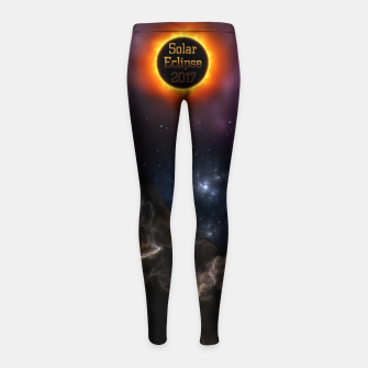 Thumbnail image of Solar Eclipse 2017 Nebula Bloom Fractal Art Girl's Leggings, Live Heroes