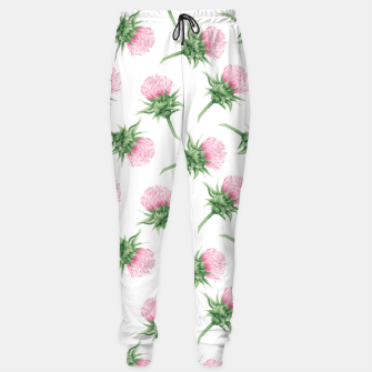 Thumbnail image of Pink thistle - watercolor pattern Sweatpants, Live Heroes