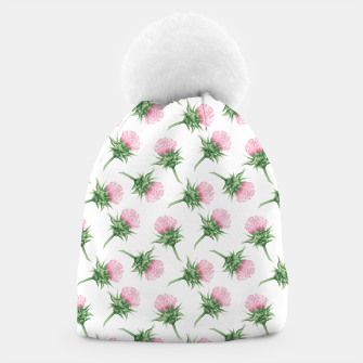 Miniaturka Pink thistle - watercolor pattern Beanie, Live Heroes