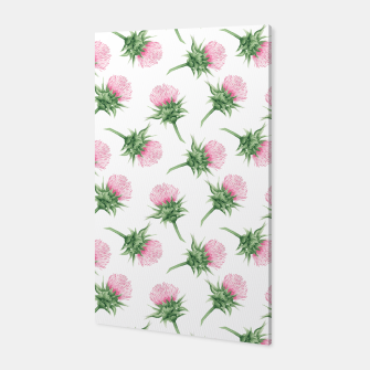 Thumbnail image of Pink thistle - watercolor pattern Canvas, Live Heroes