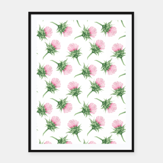 Miniaturka Pink thistle - watercolor pattern Framed poster, Live Heroes