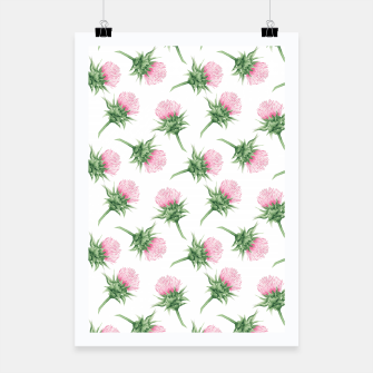 Thumbnail image of Pink thistle - watercolor pattern Poster, Live Heroes
