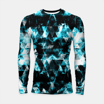 Thumbnail image of Electrifying blue sparkly triangle flames Longsleeve Rashguard , Live Heroes