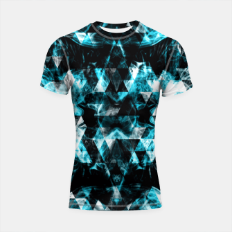 Thumbnail image of Electrifying blue sparkly triangle flames Shortsleeve Rashguard, Live Heroes