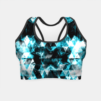 Electrifying blue sparkly triangle flames Crop Top thumbnail image
