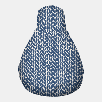 Thumbnail image of Hand Knit Navy  Pouf, Live Heroes