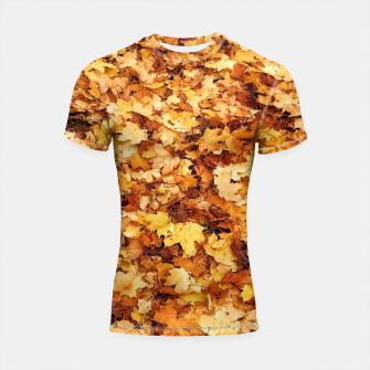 Thumbnail image of Gold yellow fall maple leaves Shortsleeve Rashguard, Live Heroes