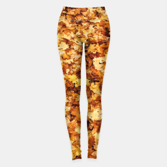 Thumbnail image of Gold yellow fall maple leaves Leggings, Live Heroes