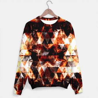 Thumbnail image of Electrifying orange sparkly triangle fire flames Sweater, Live Heroes