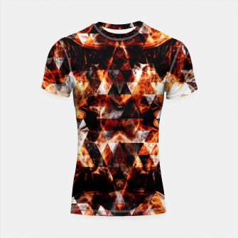 Thumbnail image of Electrifying orange sparkly triangle fire flames Shortsleeve Rashguard, Live Heroes