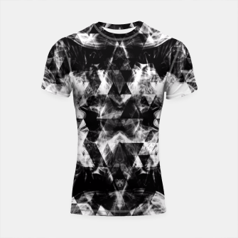 Thumbnail image of Electrifying black and white sparkly triangle flames  Shortsleeve Rashguard, Live Heroes